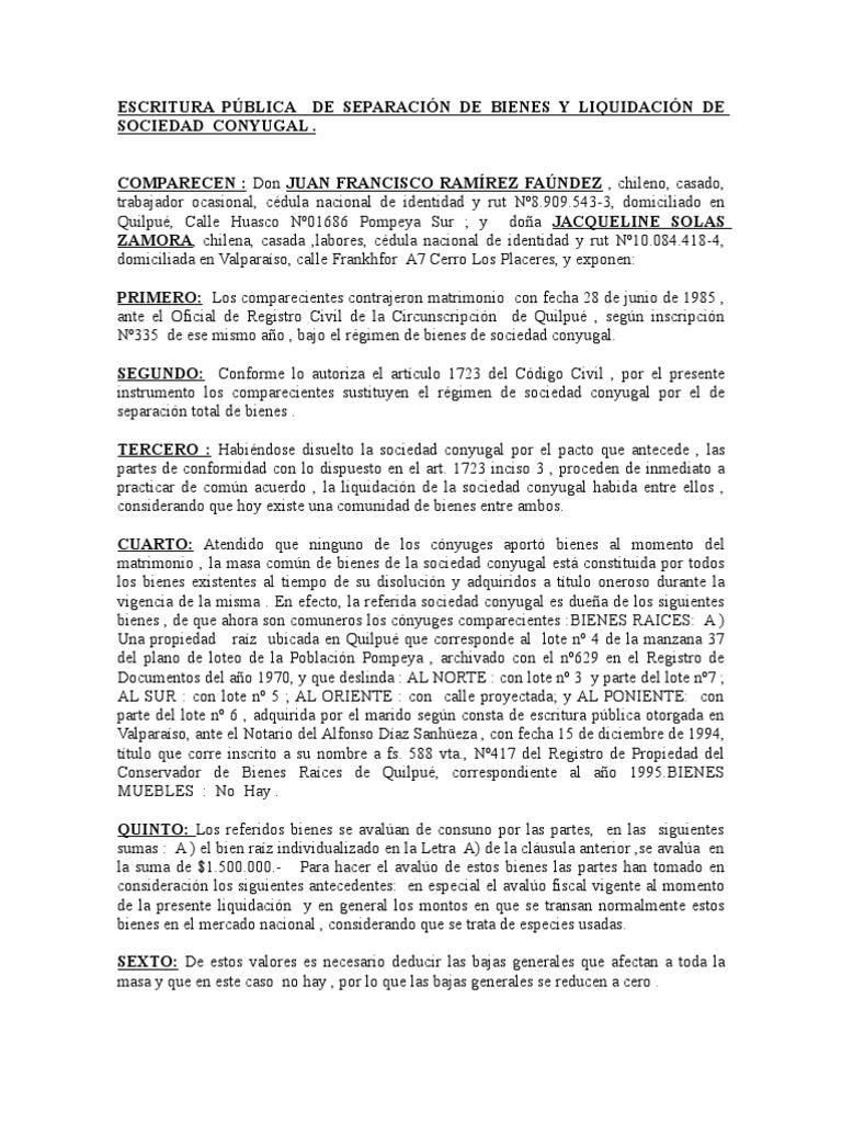 ESCRITURA PÚBLICA DE SEPARACIÓN DE BIENES Y LIQUIDACIÓN DE SOCIEDAD ...