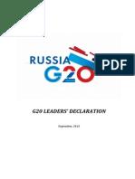 Russia G20 Leader's Declaration