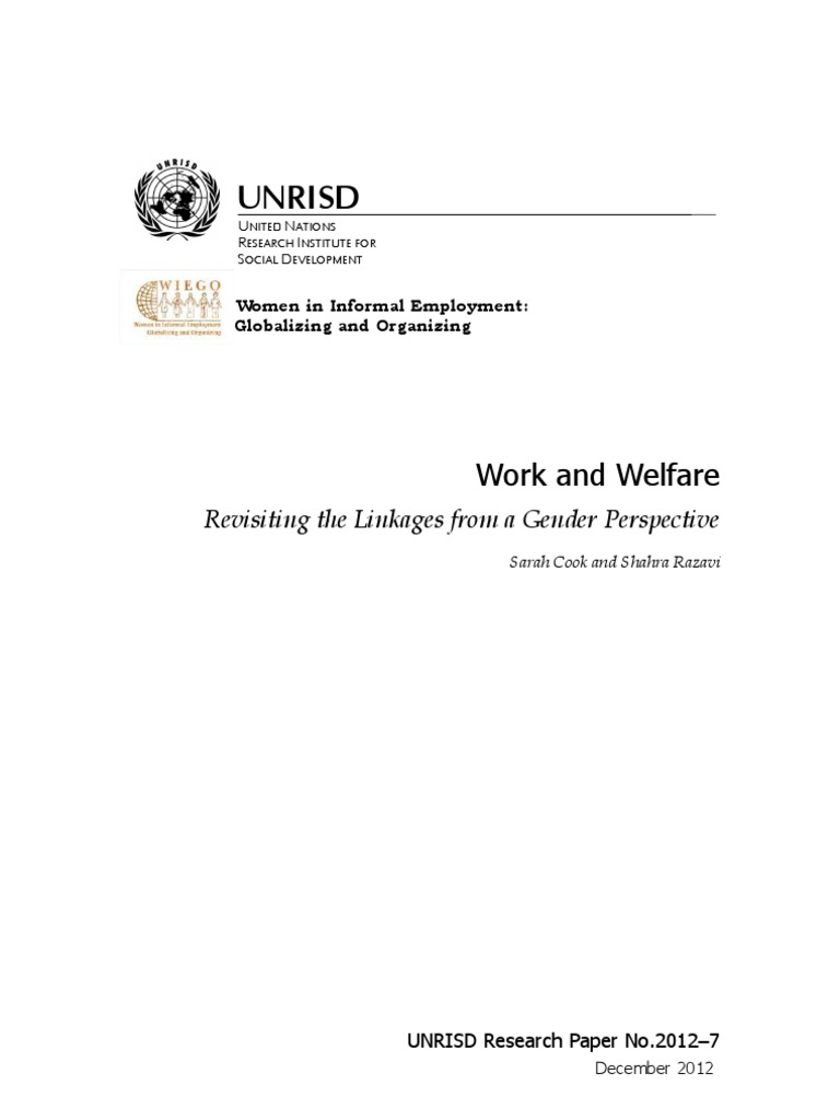 Work and Welfare: Revisiting the Linkages from a Gender Perspective ...