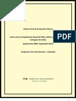 RRA Evaluación Externa TDH - Colombia Proyecto Explotacion Sexual Comercial Infantil /ESCNNA