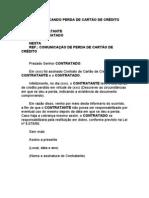 CARTA COMUNICANDO PERDA DE CARTÃO DE CRÉDITO
