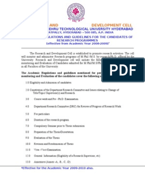 JNTU PHD 2008 2010 Guidelines | Thesis | Doctor Of Philosophy