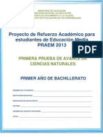 Primera prueba de avance de Ciencias Naturales - Primer Año de Bachillerato - 2013