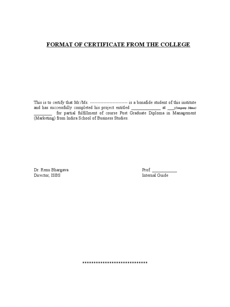 school project certificate format