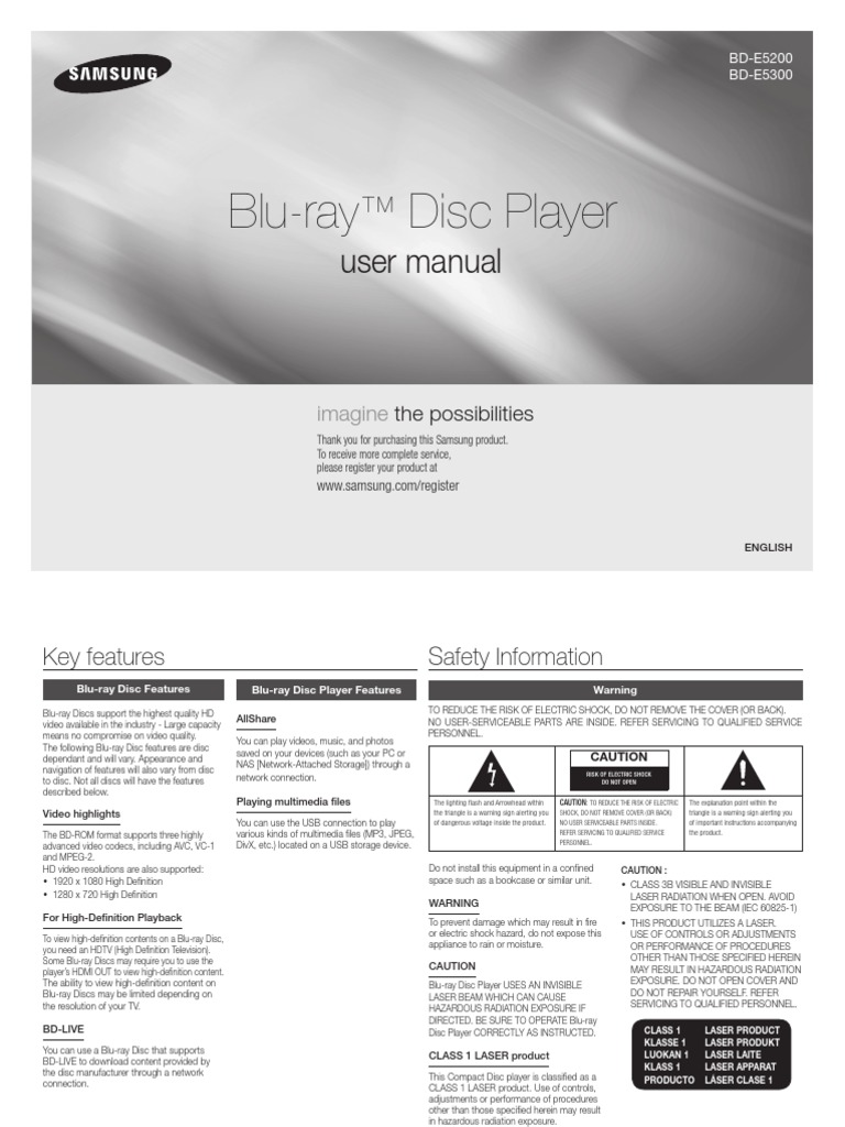 Samsung BD E5300 Manual | Hdmi | Blu Ray