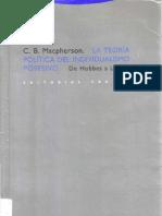 Crawford Macpherson - La teoría política del individualismo posesivo. De Hobbes a Locke