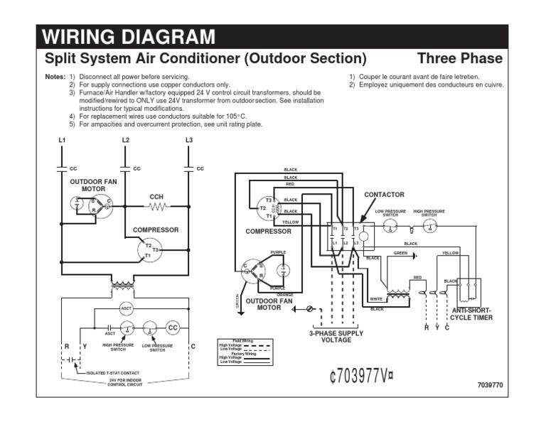 Wiring Diagram-Split System Air Conditioner | Electrical Wiring |  Transformer | Split System Ac Wiring Diagram |  | Scribd