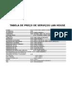 TABELA DE PREÇO DE SERVIÇOS LAN HOUSE