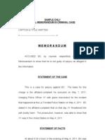 Sample Memorandum in Criminal Cases