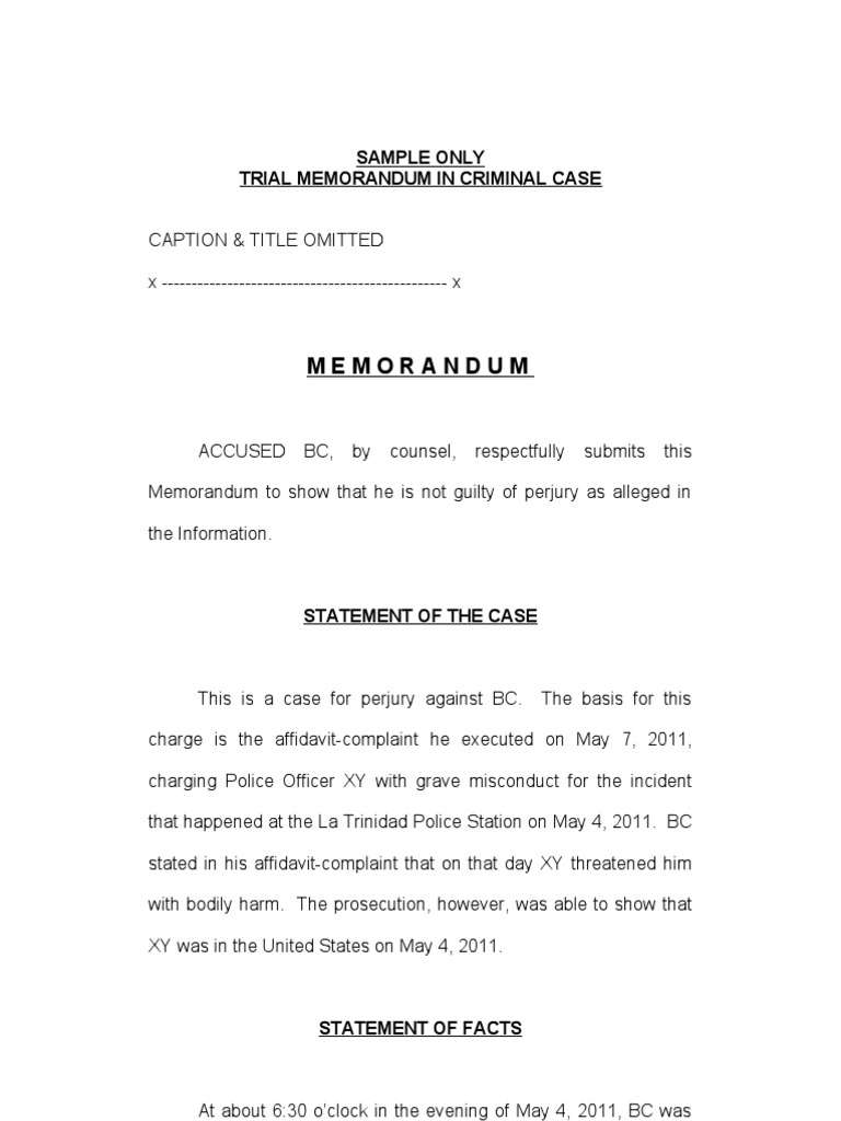 Sample memorandum in criminal cases perjury burden of proof law altavistaventures Images