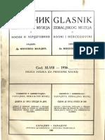 Glasnik Zemaljskog Muzeja Sveska 1 - Prirodne Nauke 1936