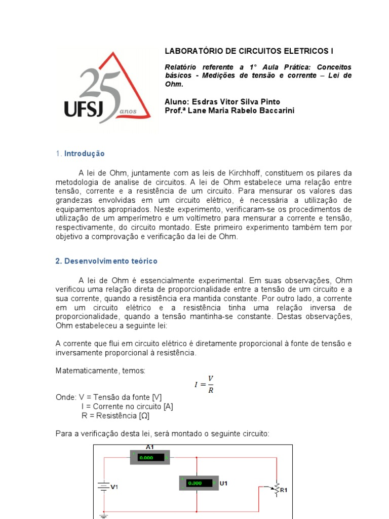 Circuito Eletricos : Relatório laboratório de circuitos eletricos ° aula pratica