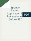 Spencer Barasch Application for Reinstatement Before SEC