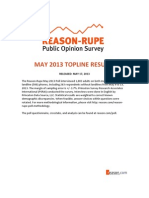 Reason-Rupe Poll May 2013 Toplines