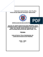 Tesina JUEGOS DIDÁCTICOS PARA DESARROLLAR EL APRENDIZAJE EN EL ÁREA DE MATEMÁTICA