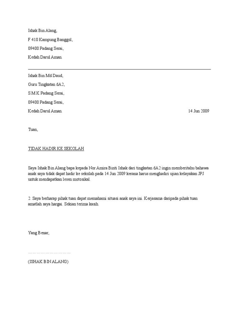 Contoh Surat Memohon Cuti Sekolah