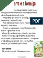 Fabula La Fontaine Cigarra Formiga