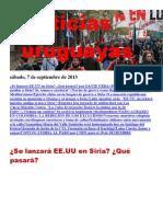 Noticias Uruguayas Viernes 6 de Setiembre Del 2013
