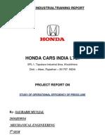 Summer Industrialtraining Report on honda car