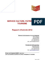 rapport activité 2012 du service culture, patrimoine et tourisme à Avranches