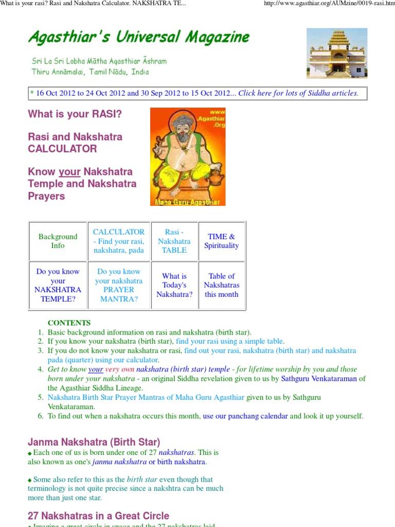 RASI, NAKSHATRA Calculator - Agasthiar org   Planets In Astrology