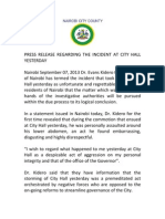 PRESS RELEASE REGARDING THE INCIDENT AT CITY HALL YESTERDAY
