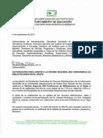 AUTORIZACIÓN PARA ASISTIR A LA DÉCIMO SEGUNDA (XII) CONFERENCIA DE BIBLIOTECARIOS EN EL OESTE