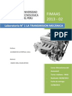 Informe n1 Laboratorio - Mecanismos - Transmision Mecanica