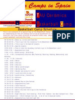 Schedule Basketball Camp in Spain 2009