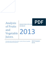 Analysis of nutrient content of fruits and vegetables.