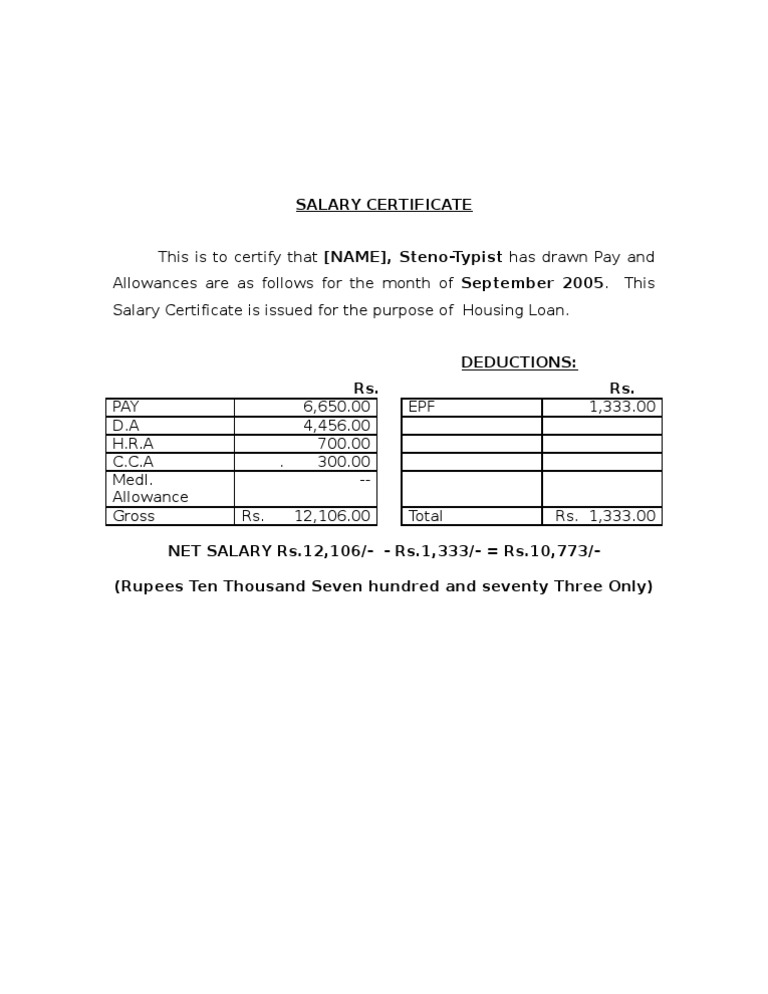 Salary Certificate Format 2 – Salary Certificate Letter Format