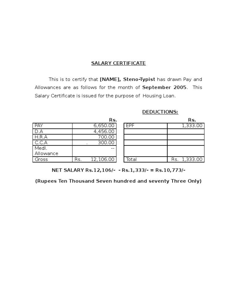 Salary Certificate Sample  Pay Certificate Sample