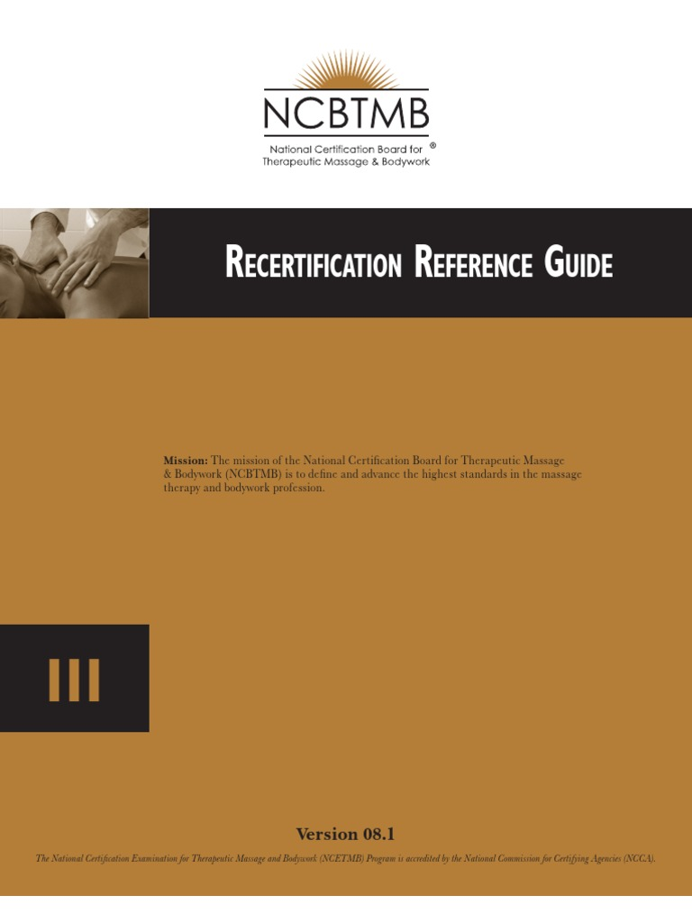 Nctmb Re Certification Reference Guide Massage Psychotherapy