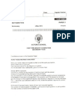 2012 Victoria Sch Sec 4 e Maths 1st Prelim Exam Paper 1 With Answers