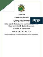 Convocatoria Encuentro Comadronas 19 Al 21 Julio 2013