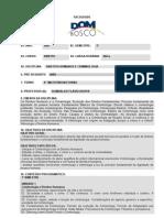 Plano de Ensino de Disciplina - 8o SEMESTRE - 2007