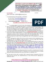 130908-G. H .Schorel-Hlavka O.W.B. to Mr Clive Palmer & AEC Re COMPLAINTS