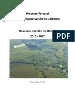 Colombia SKCC, Plan Proyecto Forestal 2013-2017v2