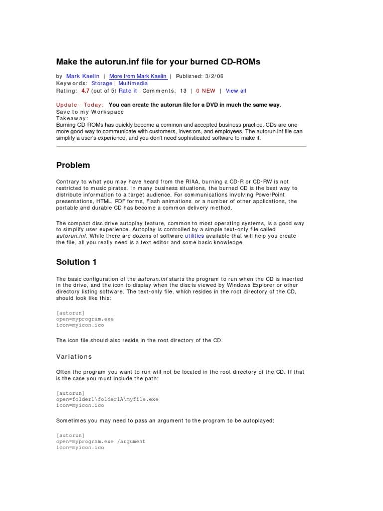 Make the Autorun inf File for Your Burned CD-ROMs | Cd Rom