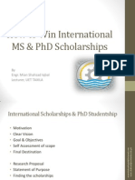 International Scholarships & PhD Studentship