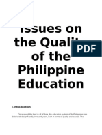 Status of the Quality of the Philippine Education