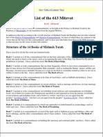 A List of the 613 Mitzvot