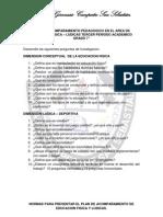 PLAN DE ACOMPAÑAMIENTO PEDAGOGICO EN EL AREA DE EDUCACION FISICA LUDICAS 7°