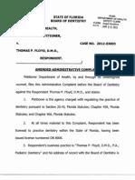 Dr. Thomas Floyd, DDS Case 2012-03003 - Florida DOH v Floyd - Amended Complaint
