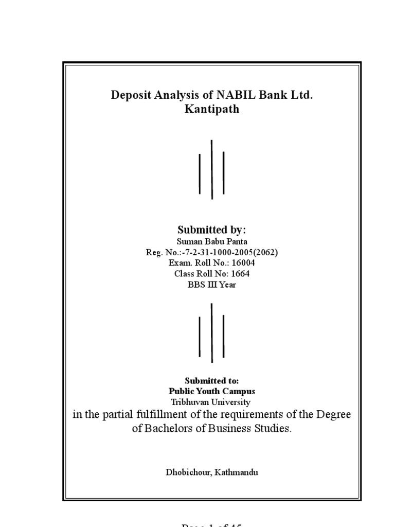 Deposit Analysis Of Nabil Bank Ltdplease Comment After Read This