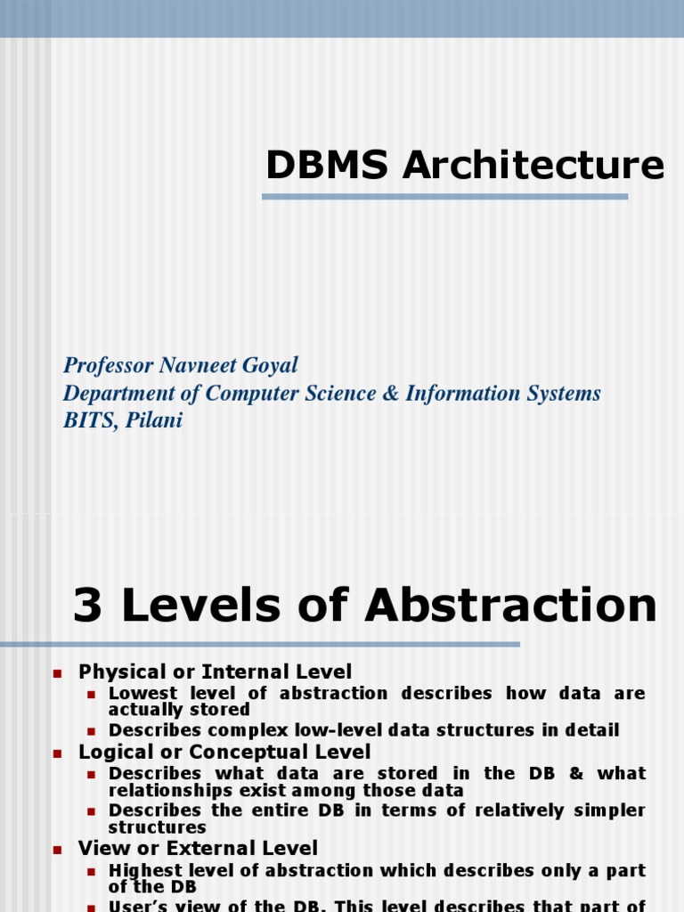 Dbms Architecture Databases Conceptual Model
