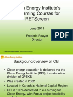 Clean Energy Institute's e-Learning Courses for RETScreen