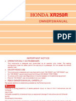 Honda XR250 R XR 250 Owners Maintenance Manual