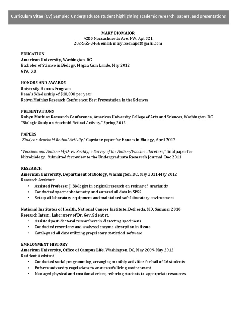 Curriculum Vitae Samples American University Graduate School