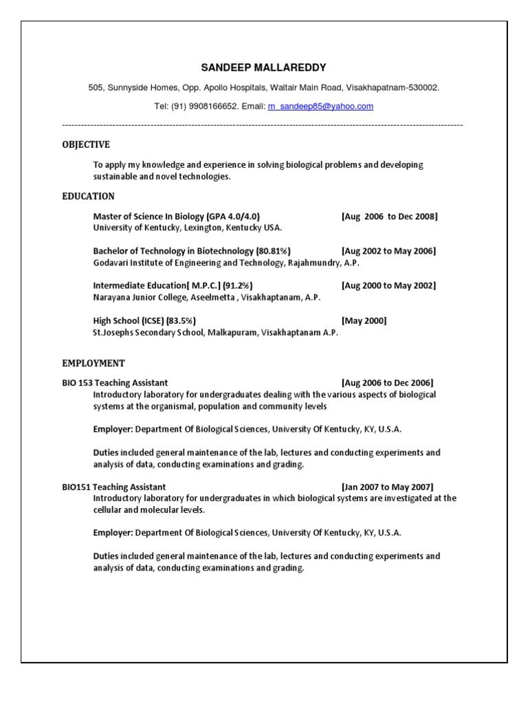 biotechnology fresh graduate resume sandeep